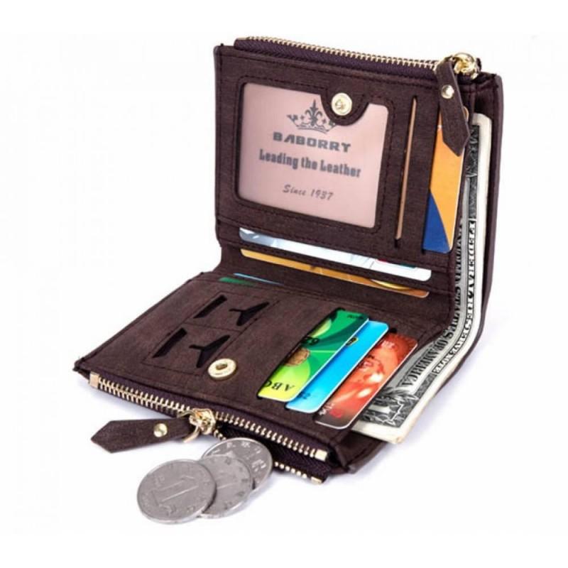 Мужской кошелек с эко-кожи Baborry FQB-07 черный